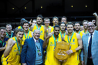 The Boomers celebrate winning the FIBA Oceania men's tournament basketball match between New Zealand and Australia at TSB Bank Arena, Wellington, New Zealand on Tuesday, 18 August 2015. Photo: Dave Lintott / lintottphoto.co.nz