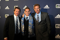 Sam Garza 6th pick of first round by San Joe Earthquakes,with coaching and management team... The 2012 MLS Superdraft was held on January 12, 2012 at The Kansas City Convention Center, Kansas City, MO.