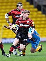 Watford, England. David Strettle of Saracens charges forward during Aviva Premiership Saracens vs London Wasps at Vicarage Road  Watford England on November 4, 2012