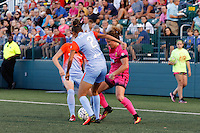 Rochester, NY - Saturday Aug. 27, 2016: Poliana Barbosa, Elizabeth Eddy during a regular season National Women's Soccer League (NWSL) match between the Western New York Flash and the Houston Dash at Rochester Rhinos Stadium.