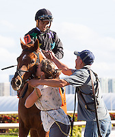 January 17, 2015: Manchurian High, owned and trained by Lilli Kurtinecz with jockey Luis Saez up, win the Sunshine Millions Turf at Gulfstream Park. Gulfstream Park, Hallandale Beach (FL). Arron Haggart/ESW/CSM