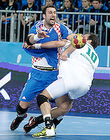 Croatia v Hungary.23rd Men's Handball World Championship. Preliminary round match.