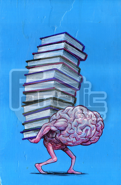 Illustrative image of brain carrying stacked books representing knowledge
