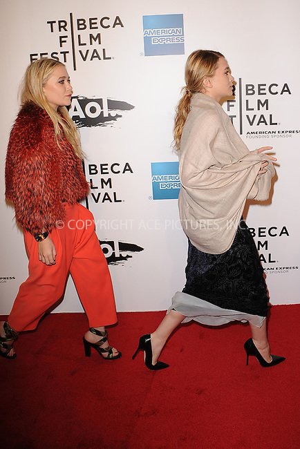 WWW.ACEPIXS.COM . . . . . .April 20, 2011...New York City...Mary Kate Olsen and Ashley Olsen attend the opening night premiere of 'The Union' at the 2011 Tribeca Film Festival at World Financial Center Plaza on April 20, 2011 in New York City.....Please byline: KRISTIN CALLAHAN - ACEPIXS.COM.. . . . . . ..Ace Pictures, Inc: ..tel: (212) 243 8787 or (646) 769 0430..e-mail: info@acepixs.com..web: http://www.acepixs.com .