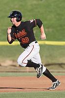 Bakersfield Blaze first baseman Stephen Hunt #29 runs the bases against the High Desert Mavericks at Mavericks Stadium on July 17, 2011 in Adelanto,California. Bakersfield defeated High Desert 11-10.(Larry Goren/Four Seam Images)