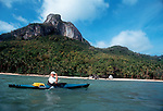 Thailand, Kayaker in Ang Thong National Park, Gulf of Thailand, South China Sea, Susan Johnston, model released,.