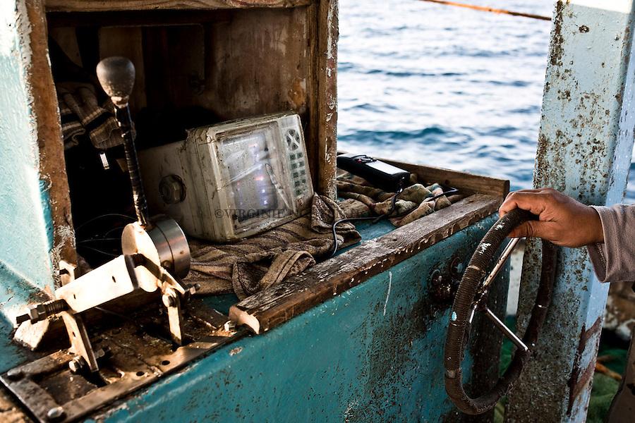 Gaza sea:  The GPS material as the boat is old as the fishermen don't have enough money to pay new one.<br /> <br /> Mer de Gaza:Le mat&eacute;riel GPS ainsi que le bateau de p&ecirc;che est ancien car les p&ecirc;cheurs n'ont pas l'argent pour se payer du neuf.