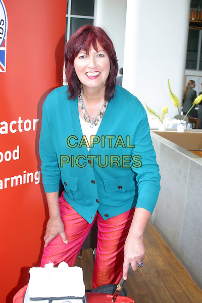 JANET STREET PORTER.Celebrating Red Tractor Week and the 10th anniversary of Britain's leading food assurance scheme. .June 15th, 2010.half length red blue trousers cardigan.CAP/JEZ  .©Jez/Capital Pictures.