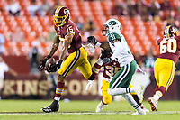 Landover, MD - August 16, 2018: Washington Redskins wide receiver Simmie Cobbs (15) hauls in a pass on third down to keep the drive alive during preseason game between the New York Jets and Washington Redskins at FedEx Field in Landover, MD. (Photo by Phillip Peters/Media Images International)