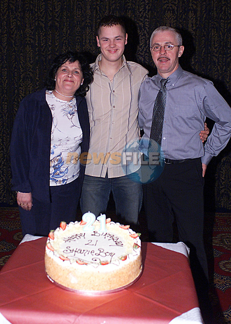 Shane Callaghan with his Mam and Dad at His 21's Party in The Bridgford...Pic Newsfile