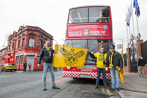 14.04.2016. Liverpool, England. Fans of Borussia Dortmund pose in front of a City tour Bus before the Europe League Quarter-finals between FC Liverpool and Borussia Dortmund