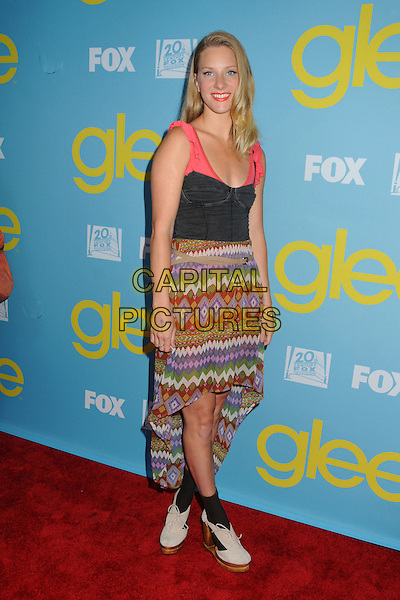 "Heather Morris.""Glee"" Academy Screening and Q&A held at the A.T.A.S. Leonard H. Goldenson Theatre, North Hollywood, California, USA..May 1st, 2012.full length pink black corset aztec print dress green purple brown.CAP/ADM/BP.©Byron Purvis/AdMedia/Capital Pictures."