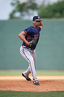Rome Braves relief pitcher Kelvin Rodriguez (43) delivers a pitch during a game against the Lexington Legends on May 23, 2018 at Whitaker Bank Ballpark in Lexington, Kentucky.  Rome defeated Lexington 4-1.  (Mike Janes/Four Seam Images)