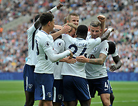 Serge Aura of Tottenham celebrates his goal and the third for Tottenham, with his teammates. English Premier League West Ham v Tottenham Hotspur, London Stadium, London, United Kingdom on 23rd September 2017
