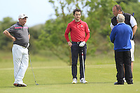 John Garvey (Seapoint), Gerard Dunne (Co. Louth), Ben Best (Rathmore) and Noel Kelly (Seapoint) on the 7th tee during Round 1 of the Irish Amateur Close Championship at Seapoint Golf Club on Saturday 7th June 2014.<br /> Picture:  Thos Caffrey / www.golffile.ie