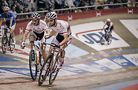 Madison World Champions Morgan Kneisky (FRA) &amp; Benjamin Thomas (FRA) relaying at the 'Kuipke' velodrome<br /> <br /> Ghent 6day<br /> Belgium 2017