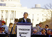 """United States Representative Jack Kemp (Republican of New York) speaks at the """"Campaign to the Summit"""", a march on Washington, D.C. supporting freedom for Jews living in the Soviet Union, on Sunday, December 6, 1987.  200,000 people marched to focus attention on the repression of Soviet Jewry, was scheduled a day before United States President Ronald Reagan and Soviet President Mikhail Gorbachev began a 2 day summit in Washington where they signed the Intermediate Range Nuclear Forces (INF) Treaty.<br /> Credit: Ron Sachs / CNP"""