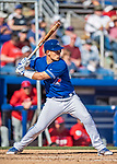 6 March 2019: Toronto Blue Jays catcher Luke Maile at bat during a Spring Training game against the Philadelphia Phillies at Dunedin Stadium in Dunedin, Florida. The Blue Jays defeated the Phillies 9-7 in Grapefruit League play. Mandatory Credit: Ed Wolfstein Photo *** RAW (NEF) Image File Available ***