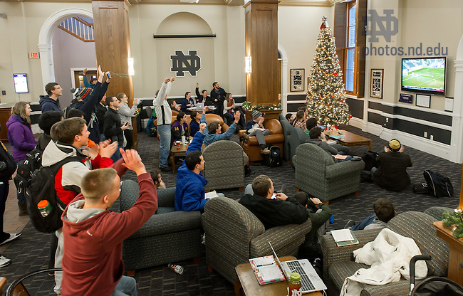 Dec. 15, 2013; Fans watching in LaFortune Student Center react as the Notre Dame Men's Soccer team wins the 2013 College Cup.<br /> <br /> Photo by Matt Cashore/University of Notre Dame