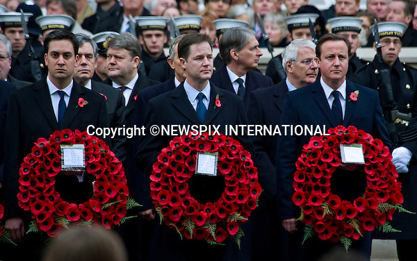 """DAVID CAMERON(Conservative), NICK CLEGG(Liberal Democrats) AND ED MILIBAND AT REMEMBRANCE SERVICE 2010.Cenotaph, London_14/11/2010..Mandatory Photo Credit: ©Dias/Newspix International..**ALL FEES PAYABLE TO: """"NEWSPIX INTERNATIONAL""""**..PHOTO CREDIT MANDATORY!!: NEWSPIX INTERNATIONAL(Failure to credit will incur a surcharge of 100% of reproduction fees)..IMMEDIATE CONFIRMATION OF USAGE REQUIRED:.Newspix International, 31 Chinnery Hill, Bishop's Stortford, ENGLAND CM23 3PS.Tel:+441279 324672  ; Fax: +441279656877.Mobile:  0777568 1153.e-mail: info@newspixinternational.co.uk"""