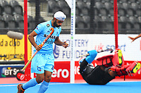 Talwinder Singh of India rues his missed shot during the Hockey World League Quarter-Final match between India and Malaysia at the Olympic Park, London, England on 22 June 2017. Photo by Steve McCarthy.