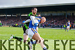 Barry John Keane Kerry in action against Keith Higgins Mayo in the first round of the National Football League at Fitzgerald Stadium Killarney on Sunday.