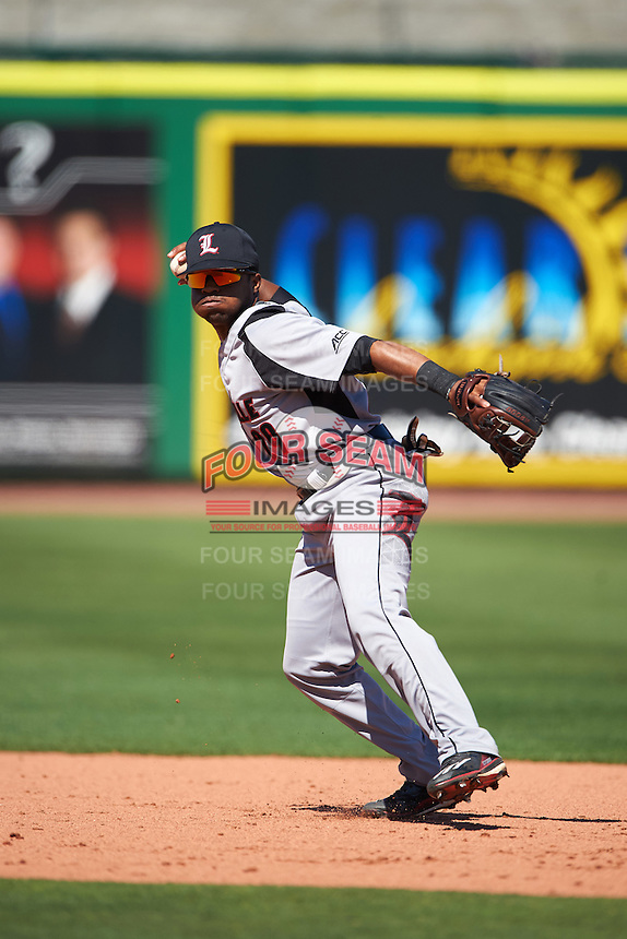 Louisville Cardinals shortstop Devin Hairston (29) during practice before a game against the Ball State Cardinals on February 19, 2017 at Spectrum Field in Clearwater, Florida.  Louisville defeated Ball State 10-4.  (Mike Janes/Four Seam Images)