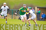 John Egan Kerry in action against Richie Hoban Kildare in the National Hurling League at Abbeydorney on Sunday.