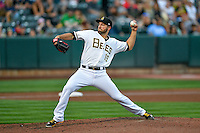 Salt Lake Bees starting pitcher Nate Smith (15) delivers a pitch to the plate against the Round Rock Express in Pacific Coast League action at Smith's Ballpark on August 13, 2016 in Salt Lake City, Utah. Round Rock defeated Salt Lake 7-3.  (Stephen Smith/Four Seam Images)