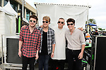 SUNRISE, FL - DECEMBER 21: L-R) Musicians Charley Bagnall, Danny Wilkin, Lewi Morgan and Jake Roche of the band Rixton poses backstage at Y100's Jingle Ball Village, Y100's Jingle Ball 2014 official pre-show at BB&T Center on December 21, 2014 in Sunrise, Florida.  (Photo by Johnny Louis/jlnphotography.com)
