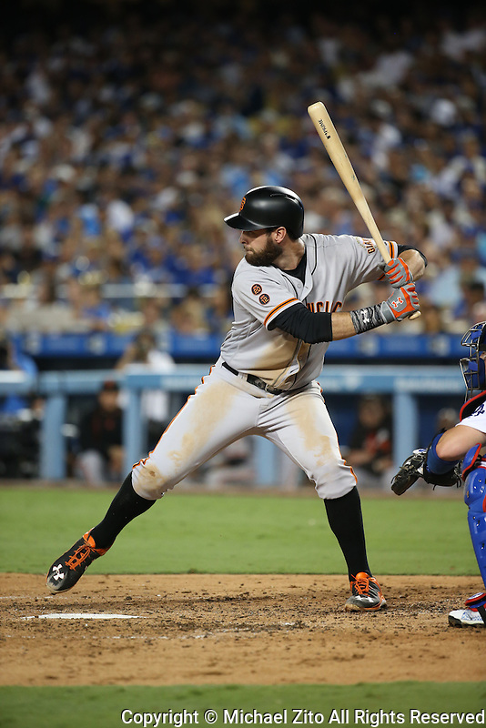 09/20/16 Los Angeles, CA: San Francisco Giants first baseman Brandon Belt #9 during an MLB game played at Dodger Stadium between the San Francisco Giants and the Los Angeles Dodgers