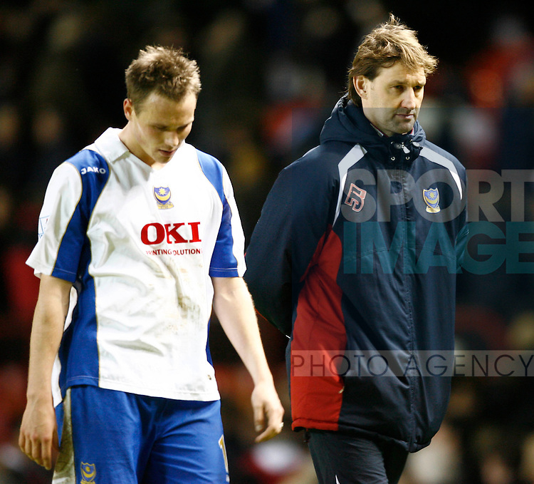 Portsmouth's Matt Taylor and coach Tony Adams