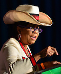 MIAMI, FL - OCTOBER 17: U.S. Representative of Florida's 24th Congressional District Frederica S. Wilson speaks as she campaigns for former Florida Governor and now Democratic gubernatorial candidate Charlie Crist during an event at the Betty T. Ferguson Recreational Complex Gymnasium on Friday October 17, 2014 in Miami, Florida. Crist is facing off against incumbent Republican Governor Rick Scott in the November 4, 2014 election. (Photo by Johnny Louis/jlnphotography.com)