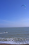 A1X0R5 Kite surfing in the North Sea off Shingle Street Suffolk England