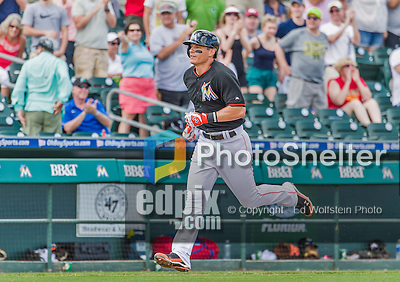 10 March 2015: Miami Marlins infielder Derek Dietrich rounds the bases after hitting a walk-off solo home run during Spring Training action against the Washington Nationals at Roger Dean Stadium in Jupiter, Florida. The Marlins edged out the Nationals 2-1 in Grapefruit League play. Mandatory Credit: Ed Wolfstein Photo *** RAW (NEF) Image File Available ***