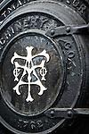 Boiler door of an old steam tractor, Wooden Shoe Tulip Farm, Oregon