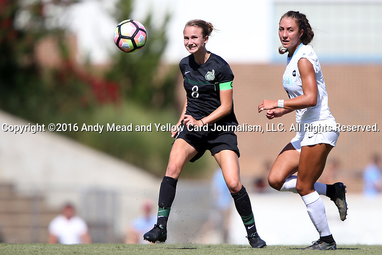 21 August 2016: Charlotte's Martha Thomas (left) and North Carolina's Abby Elinsky (right). The University of North Carolina Tar Heels hosted the University of North Carolina Charlotte 49ers in a 2016 NCAA Division I Women's Soccer match. UNC won the game 3-0