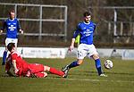 2018-03-11 / Voetbal / Seizoen 2017-2018 / VC Herentals - KFC Nijlen / Gianni Convalle met Willem Brouwers (r. Nijlen)<br /> <br /> ,Foto: Mpics.be