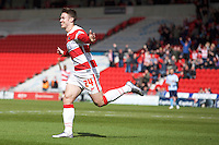 Doncaster Rovers v Coventry City, 23.4.2016<br /> Sky Bet League One<br /> Picture Shaun Flannery/Trevor Smith Photography<br /> Rovers Tommy Rowe celebrate's his goal.