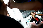 MADRID, SPAIN - FEBRUARY 03: A model prepares backstage for the show Mercedes-Benz Fashion Week Madrid A/W 2012 at Ifema on February 3, 2012 in Madrid, Spain. (Photo by Juan Naharro)