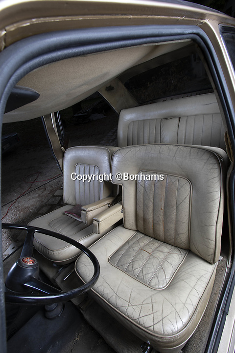 BNPS.co.uk (01202 558833)<br /> Pic:  Bonhams/BNPS<br /> <br /> The Vandan Plas was a top of the range Morris...<br /> <br /> SHE may be a tired old Morris - but this humble British motor actually belonged to legendary French crooner Charles Aznavor<br /> <br /> The 1966 Princess Vanden Plas 1100 was owned from new by the famous entertainer, dubbed 'the Gallic Frank Sinatra'. <br /> <br /> Despite selling over 180 million records worldwide the humble singer was happy to drive around in the less than glamorous saloon for many years before retiring it to a garage 15 years ago.<br /> <br /> Since then it has not been registered for road use and has remained gathering dust at the late singer's sister's chateau.