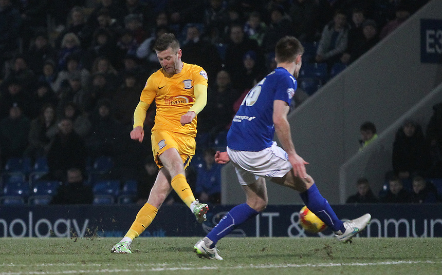 Preston North End's Paul Gallagher gets a shot on goal<br /> <br /> Photographer Mick Walker/CameraSport<br /> <br /> Football - The Football League Sky Bet League One - Tuesday 10th February 2015 - Chesterfield v Preston North End - Proact Stadium - Chesterfield<br /> <br /> &copy; CameraSport - 43 Linden Ave. Countesthorpe. Leicester. England. LE8 5PG - Tel: +44 (0) 116 277 4147 - admin@camerasport.com - www.camerasport.com