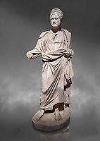 Roman statue of Emperor Priest. Marble. Perge. 2nd century AD. Inv no . Antalya Archaeology Museum; Turkey .  Against a grey background