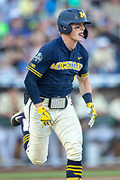 Michigan Wolverines shortstop Jack Blomgren (2) runs to first base against the Vanderbilt Commodores during Game 3 of the NCAA College World Series Finals on June 26, 2019 at TD Ameritrade Park in Omaha, Nebraska. Vanderbilt defeated Michigan 8-2 to win the National Championship. (Andrew Woolley/Four Seam Images)