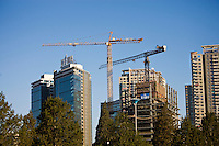 Modern glass skyscapers being built in Beijing, China