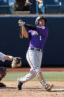Kyle Von Tungeln #1 of the TCU Horned Frogs bats against the Cal State Fullerton Titans at Goodwin Field on February 26, 2012 in Fullerton,California. Fullerton defeated TCU 11-10.(Larry Goren/Four Seam Images)