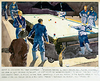 BNPS.co.uk (01202 558833)Pic: DominicWinter/BNPS<br /> <br /> Depot 1 - Stretcher bearers and heavy rescue boys play snooker and wait for the call out.<br /> <br /> Unseen harrowing drawings which vividly capture the horrors of the Blitz during World War Two have come to light 78 years later.<br /> <br /> Artist Ivor Beddoes began the war as an actor in the West End but quit to become a stretcher bearer as the German bombs rained down on London.<br /> <br /> He made sketches on the spot and then added watercolours later, documenting in graphic detail the devastation caused.<br /> <br /> Beddoes' drawings show bodies strewn on the blood soaked ground as the Luftwaffe did their worst. Others reveal frantic searches for survivors in the rubble of decimated buildings.<br /> <br /> The drawings have emerged for sale with auction house Dominic Winter, of Cirencester, Gloucs. They are expected to fetch £5,000.