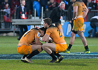 Jaguares' Sebastian Cancelliere consoles Jaguares' Matias Moroni after the 2019 Super Rugby final between the Crusaders and Jaguares at Orangetheory Stadium in Christchurch, New Zealand on Saturday, 6 July 2019. Photo: Dave Lintott / lintottphoto.co.nz
