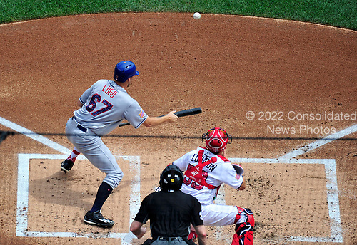 New York Mets starting pitcher Seth Lugo (67) lays down a sacrifice bunt in the second inning against the Washington Nationals at Nationals Park in Washington, D.C. on Tuesday, July 4, 2017.  <br /> Credit: Ron Sachs / CNP<br /> (RESTRICTION: NO New York or New Jersey Newspapers or newspapers within a 75 mile radius of New York City)