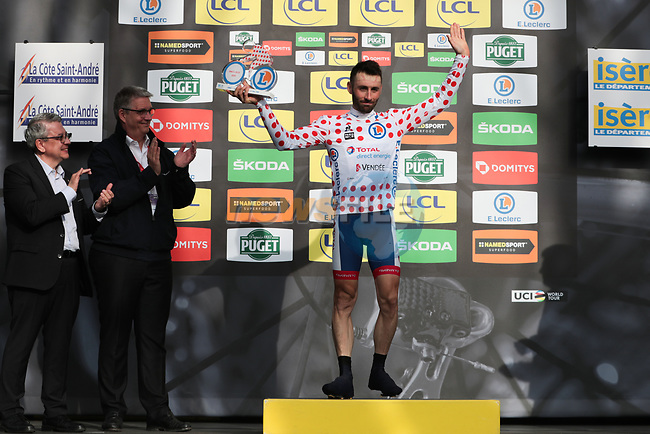 Jonathan Hivert (FRA) Total Direct Energie retains the Polka Dot Jersey on the podium at the end of Stage 5 of the 78th edition of Paris-Nice 2020, running 227km from Gannat to La Cote-Saint-Andre, France. 12th March 2020.<br /> Picture: ASO/Fabien Boukla | Cyclefile<br /> All photos usage must carry mandatory copyright credit (© Cyclefile | ASO/Fabien Boukla)